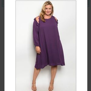 💜Plus Size Long Sleeve Purple Dress💜